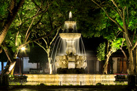 Fuente de las Sirenas At Parque Central During a Rainy Night