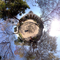 The jacaranda tiny planet at Parque Central, Antigua Guatemala