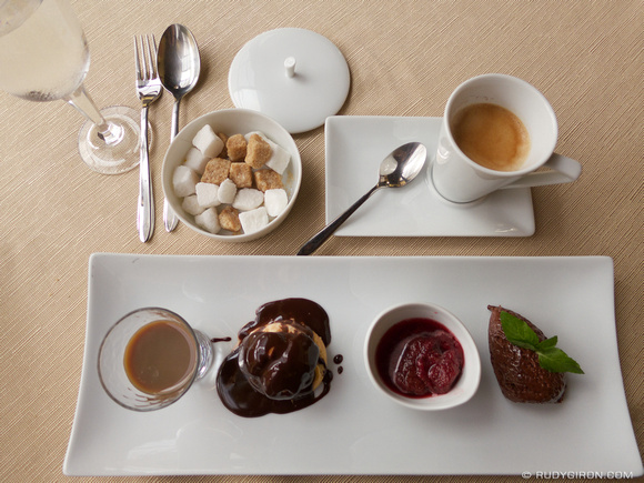 Gourmet coffee and tasting of desserts samples