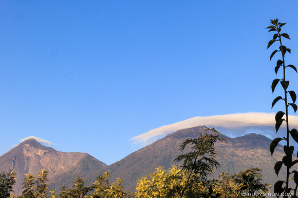 Sunrise over Fuego and Acatenango volcanoes